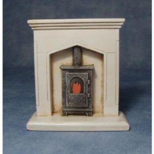 POÊLE À BOIS Poupées Maison miniature 1: 12 Echelle résine feu