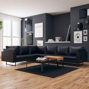 CANAPÉ - SOFA - DIVAN Canapé d'angle 7 places en cuir synthétique noir C