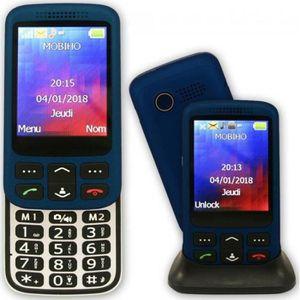 Téléphone portable Le Zip Elegant bleu 3G, portable senior coulissant