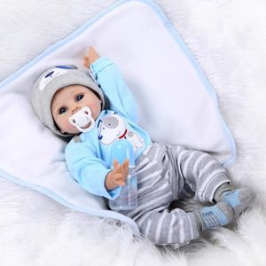 POUPÉE 55cm Bleu Yeux Bebe Reborn Silicone Reborn Bébé Po