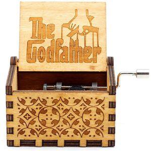 Parrain Godfather Meiion Bo/îte /à Musique en Bois sculpt/é Antique Musique /à la manivelle