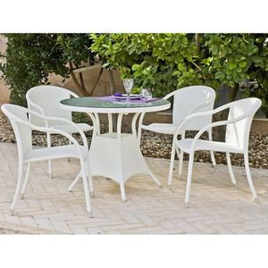 Table ronde resine tressee achat vente table ronde for Table de jardin ronde en resine blanche