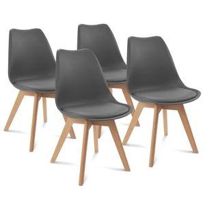 CHAISE Chaises x4 styles scandinave grises pour salle à m
