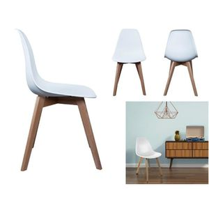 CHAISE Lot de 4 Chaise Scandinave Blanche Coque Design -