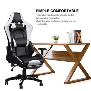 SIÈGE GAMING Chaise gamer Fauteuil gamer avec repose-pied + Ore