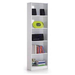 BIBLIOTHÈQUE  Bibliothèque avec 5 étagères coloris blanc - Dim :