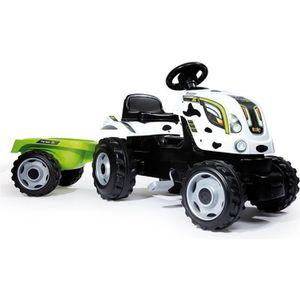 TRACTEUR - CHANTIER SMOBY Tracteur à pédales Farmer XL Vache + Remorqu