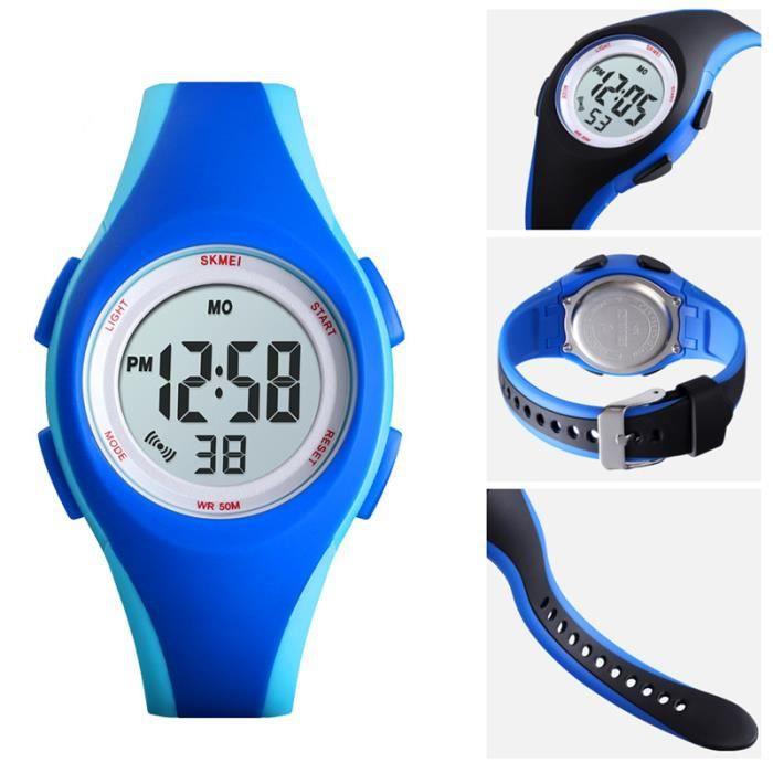 Montre Enfant Garcon de Sport etanche numerique LED watch militaire 2020 bracelet bleu , Cadeau pour enfants