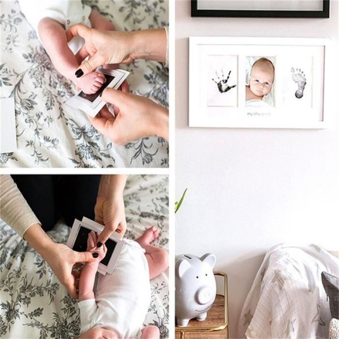 Kit Empreinte Bébé Cadre de Photo pour Souvenir la Naissance - Deux empreintes et cadre photo - Blanc