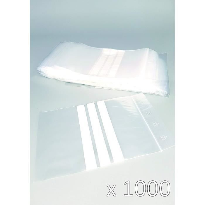 Sachet Plastique Zip transparent - 3 bandes blanches - 40 x 60 mm - 50 µ - Lot de 1000