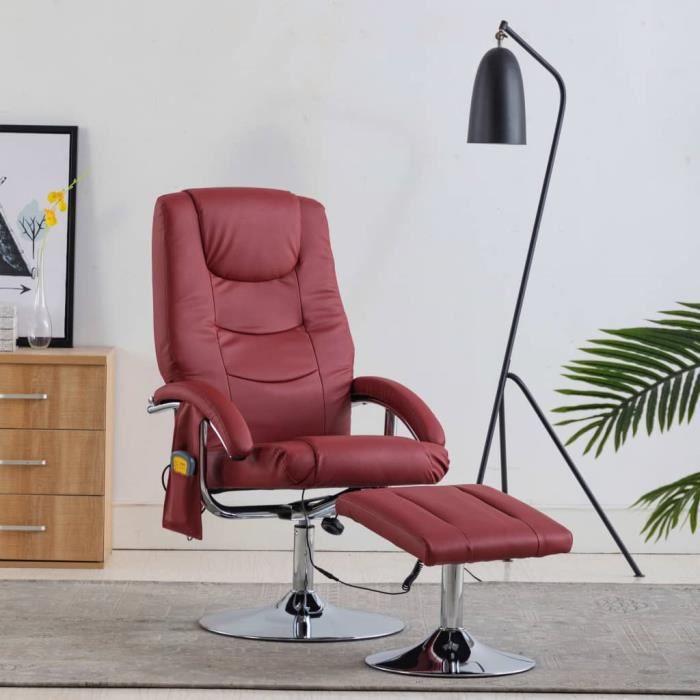 Magnifique-Fauteuil de relaxation grand confort Fauteuil de massage Fauteuil sofa avec repose-pied Rouge bordeaux Similicuir