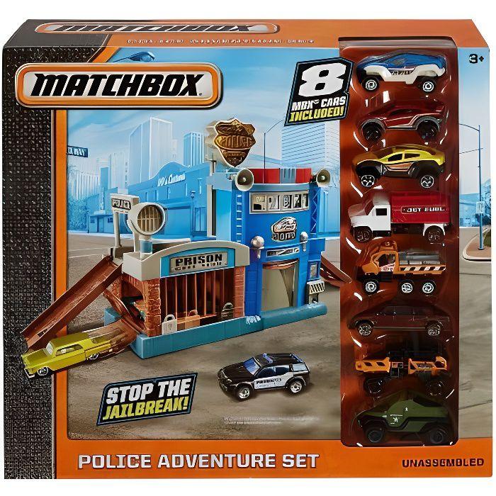 Coffret Police Adventure Set Avec 8 Voitures Matchbox - Vehicule Mattel