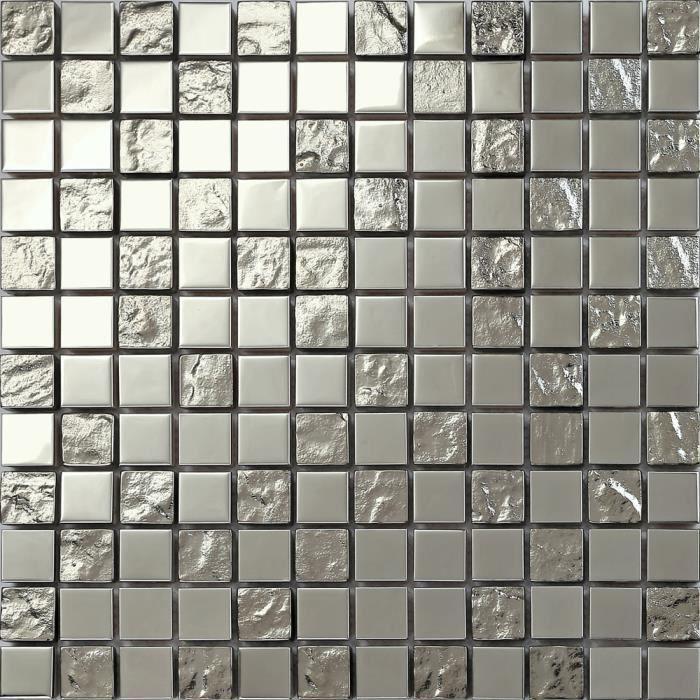 1m2 Carrelage mosaïque en acier inoxydable et verre texturé . Argenté (MT0129 m2) L'offre est de 11 feuilles. 1 mètre carré m2 qm