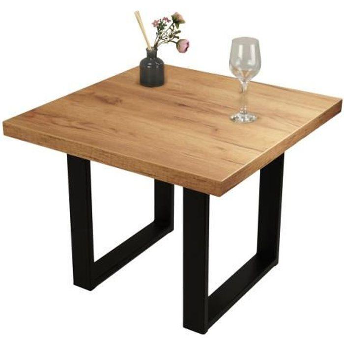 POKAR Table Basse Industrielle, Table à Café avec Pied de Table Metal [Chêne Craft Or, 60x60]