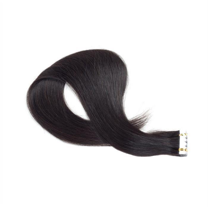 55cm Tape Extensions Vierge Cheveux Cheveux pour les femmes Beauté (Noir Remy Hair)