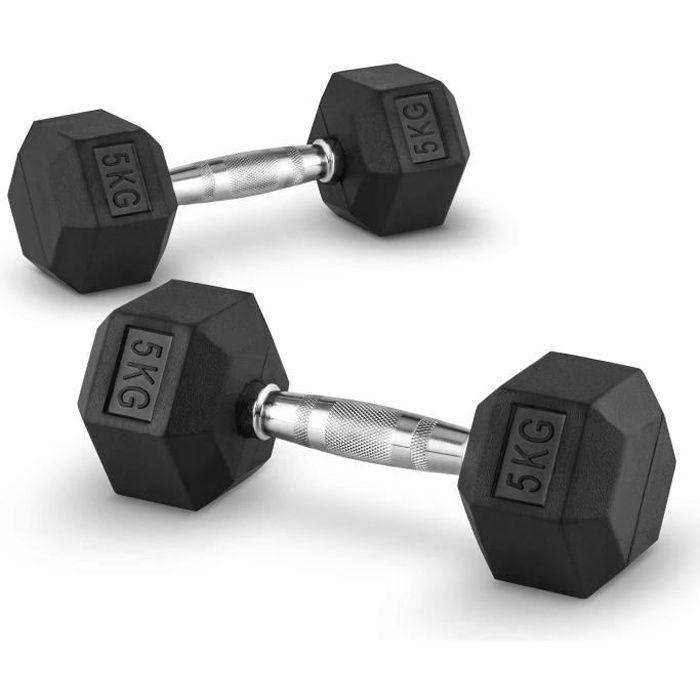 CAPITAL SPORTS Hexbell - Paire d'haltères courts pour musculation, cross-training… (caoutchouc résistant , prise chromée) - 2x 5kg