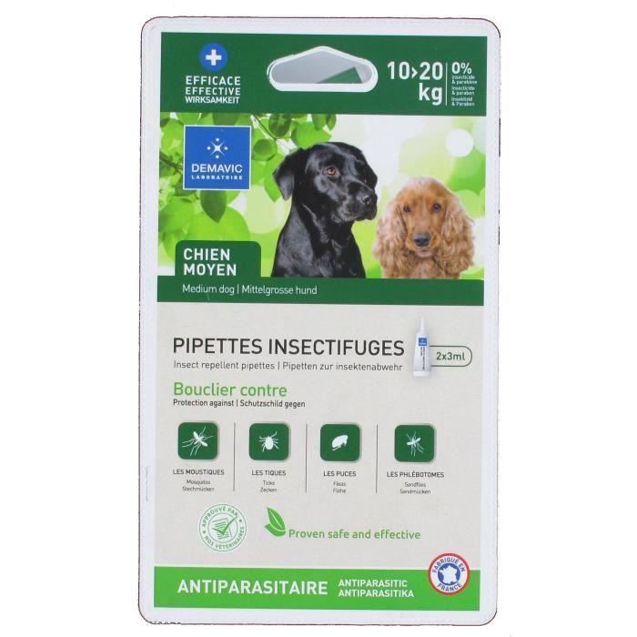 DEMAVIC Pipettes insectifuges - 10-20 kg - Pour Chien moyen