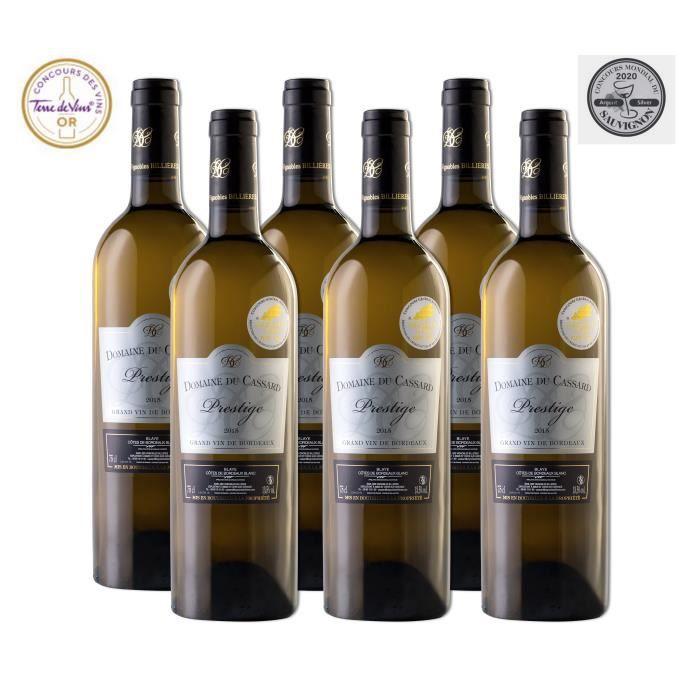 Domaine du Cassard Prestige - Blaye Côtes de Bordeaux Blanc- Médaille d'Argent au concours du sauvignon 2020 - Lot de 6 bouteilles