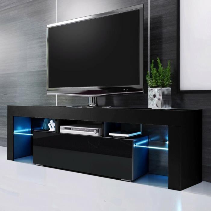 Dripex Meuble TV Moderne avec Led-Meuble TV de Salon-Tablette en verre-Noir-130cm x 35cm x 45cm