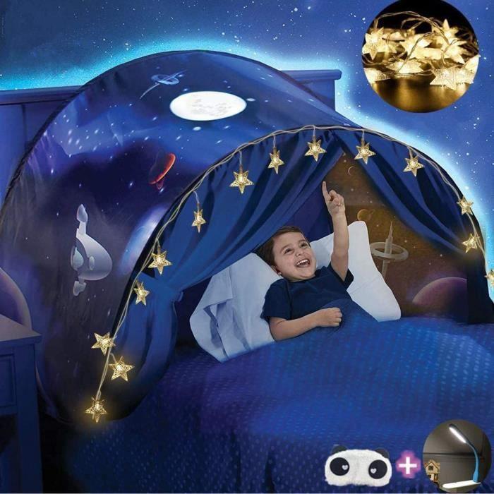 Dream Tents pour enfants Tente de Lit Tente de camping extérieure pour tente pliable + 20pcs étoiles LED Chaîne de Lumières