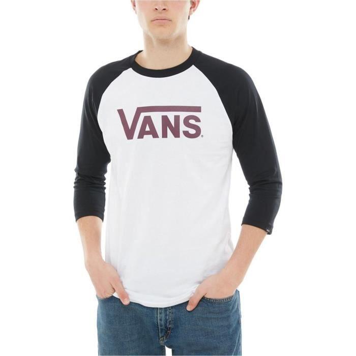 t-shirt manches raglan homme de vans classic en blanc de la collection vêtements hiver 2018 matériel: 100% coton.