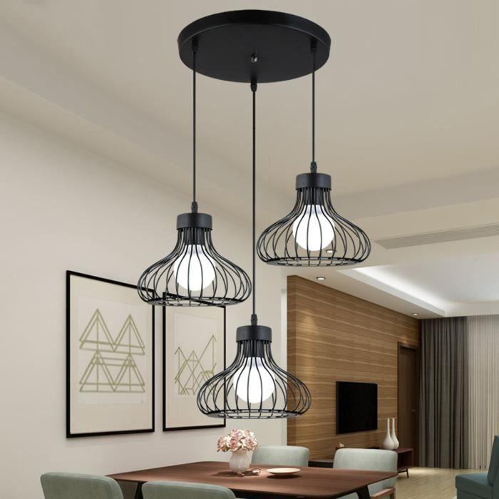 Lustre en fer 3 Luminaire Suspension industrielle pour Restaurant Terrasse Salon