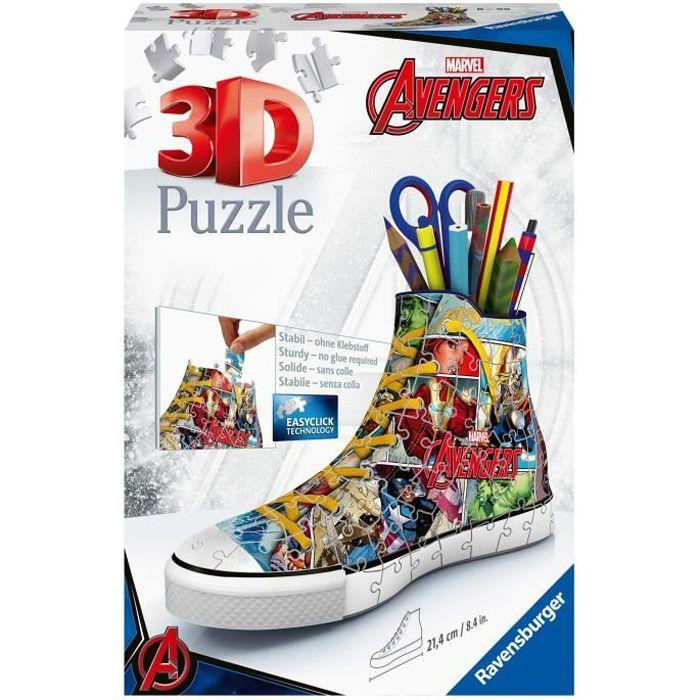 AVENGERS Puzzle 3D Sneaker - Ravensburger - Puzzle 3D enfant - sans colle - Pot à crayons 108 pièces - Dès 8 ans