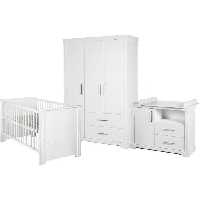 ROBA Ensemble chambre bébé 'Maxi', avec lit bébé 70x140 cm, commode à langer et armoire 3 portes, blanc