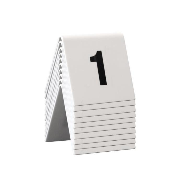 Chevalet de table numérotés 1-10 Blanc