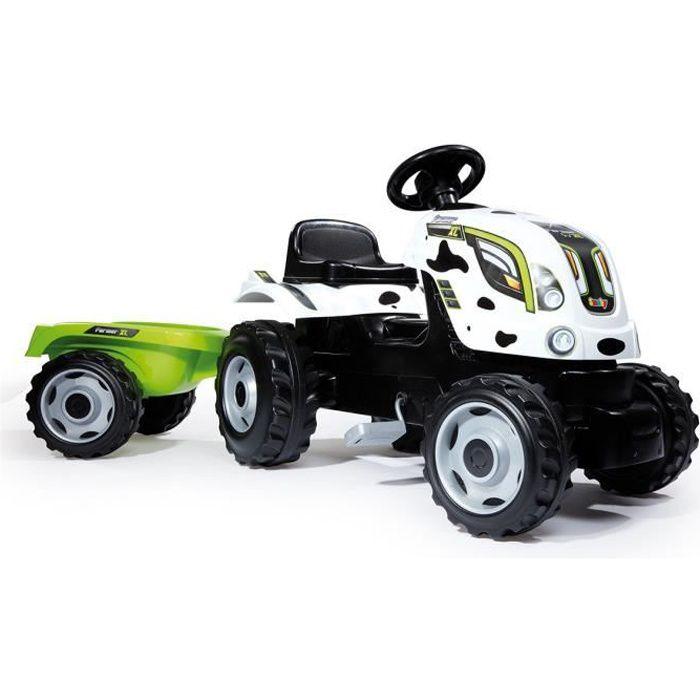 SMOBY Tracteur à pédales Farmer XL Vache + Remorque