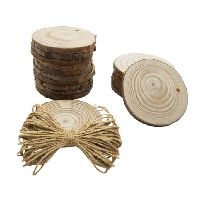 50 pièces tranches de pin diamètre 6 en bois décoration ronde de avec 10 corde de chanvre photographie jardin NAPPE DE TABLE