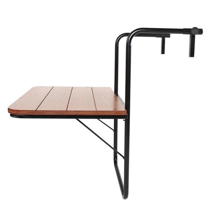 TMISHION Mobilier d'extérieur Balcon Table suspendue Garde-corps de haute qualité Table de jardin pliante en fer