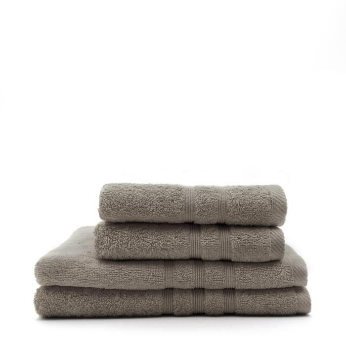 TODAY Lot de 2 Serviettes 50 x 100 cm + 2 Draps de bain 70 x 130 cm - 100% Coton - Mastic