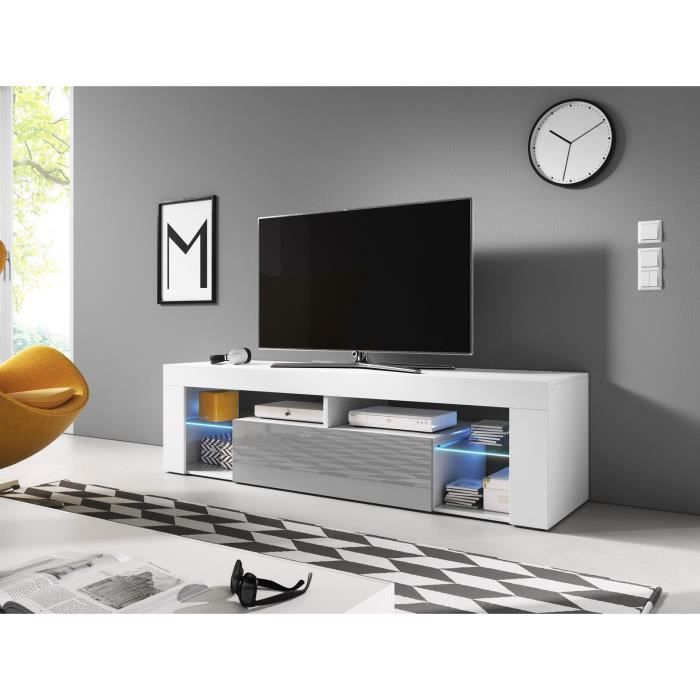 VIVALDI Meuble TV - EVEREST 2 - 140 cm - blanc mat / gris brillant avec LED - style design