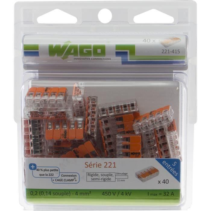WAGO Pack de 40 Bornes de connexion universelle tous conducteurs - Type 221/ 5 entrées