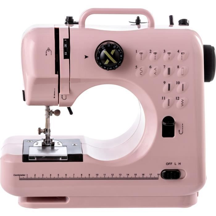 XLUMIX - LUMIX12/PGD- - Machine à coudre 12 programmes - 6 Watts - Ecran digital - Réglage tension fil - Vitesse réglable - Rose
