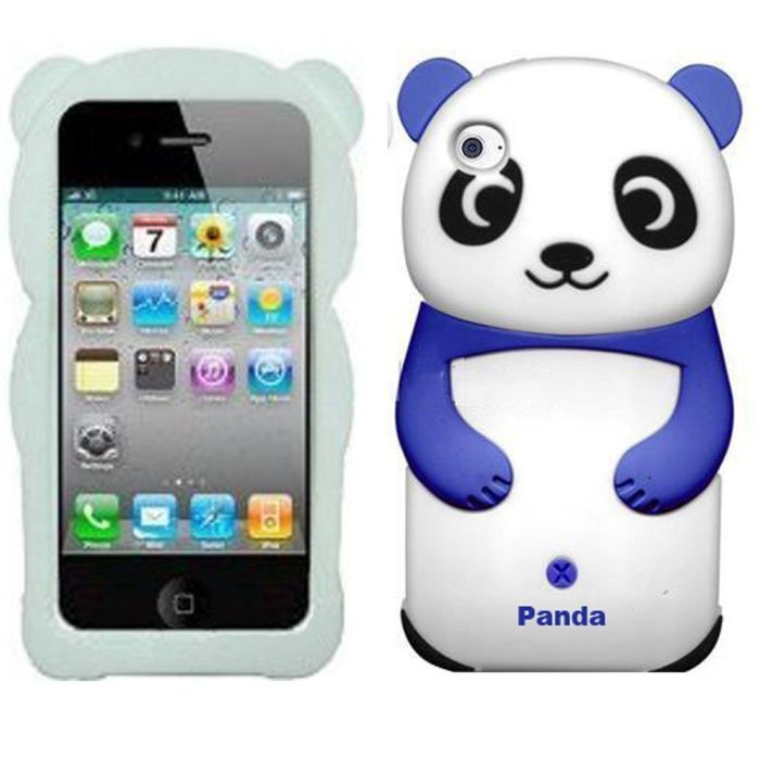 coque ipod touch 4 panda animal bleu f blanc retro coque. Black Bedroom Furniture Sets. Home Design Ideas