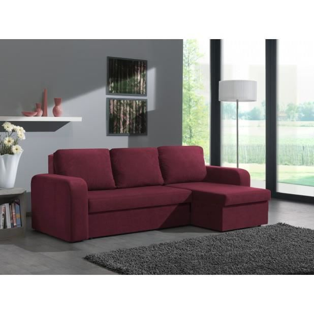 canap d 39 angle convertible avec coffre prune hercules achat vente canap sofa divan. Black Bedroom Furniture Sets. Home Design Ideas