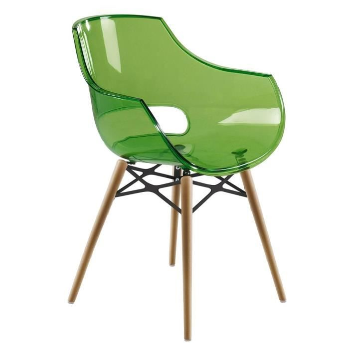 chaise transparente verte opal wox pieds bois natu achat vente chaise polycarbonate cdiscount. Black Bedroom Furniture Sets. Home Design Ideas