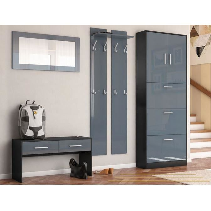 ensemble de meubles d entr e noir gris achat vente. Black Bedroom Furniture Sets. Home Design Ideas