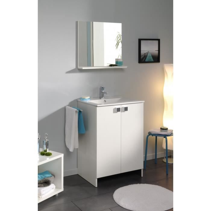 Element meuble vasque 2p 60cm blanc achat vente for Element de salle de bain