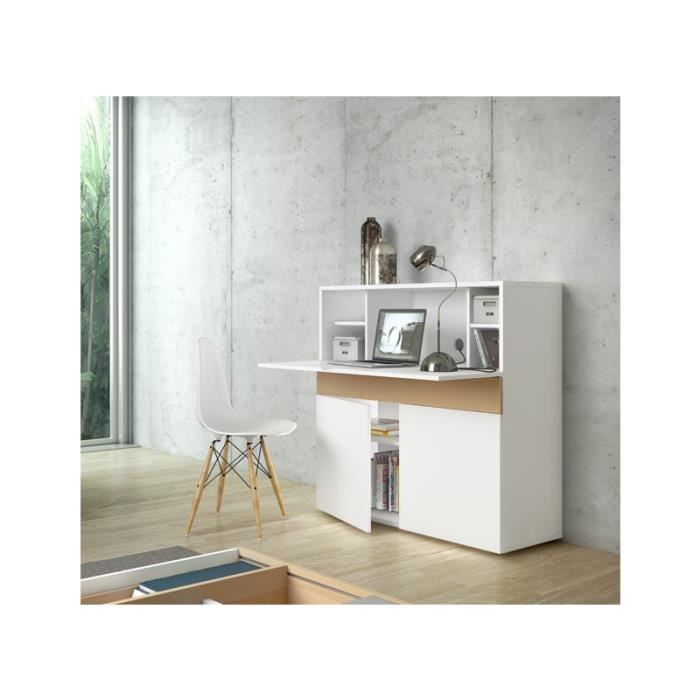 bureau r tractable design focus blanc achat vente bureau bureau r tractable design f. Black Bedroom Furniture Sets. Home Design Ideas