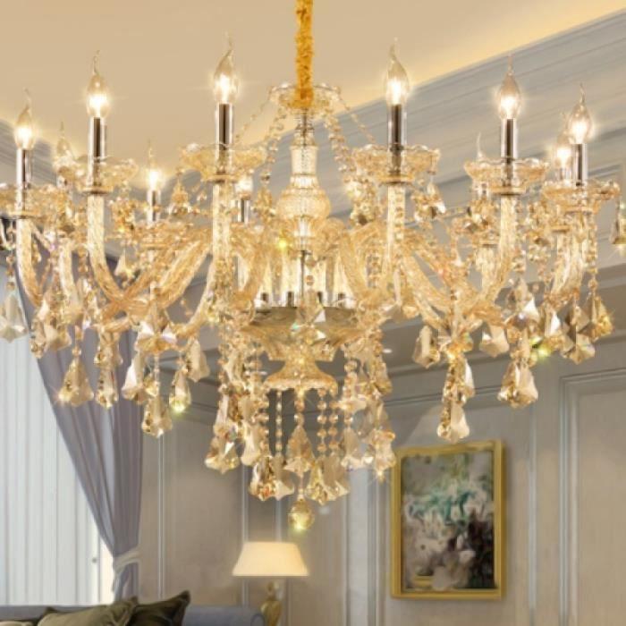 Plafonnier Lustre Salon Salle à Manger Chambre Lustre Bougie Led Lustre En Cristal Sans Ampoules 12 Têtes