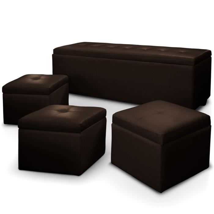 banquette coffre triange 3 poufs marron achat vente. Black Bedroom Furniture Sets. Home Design Ideas