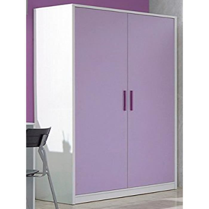 armoire enfant lima avec 2 portes coloris lila achat. Black Bedroom Furniture Sets. Home Design Ideas