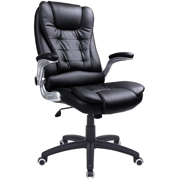 songmics fauteuil de bureau hauteur r glable simili cuir. Black Bedroom Furniture Sets. Home Design Ideas
