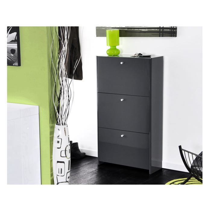 meuble chaussures gris. Black Bedroom Furniture Sets. Home Design Ideas