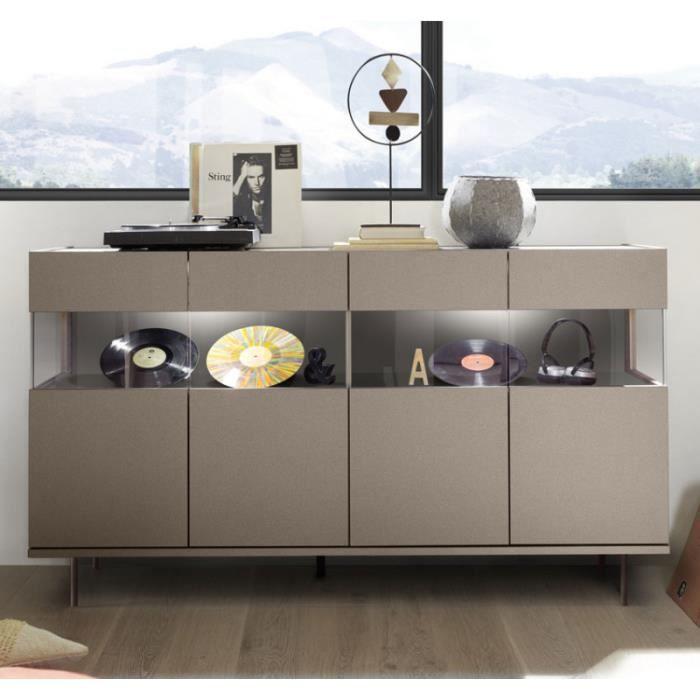 BUFFET - BAHUT  Buffet 4 portes Bronze/Métal à LEDs - TARENTE n°1