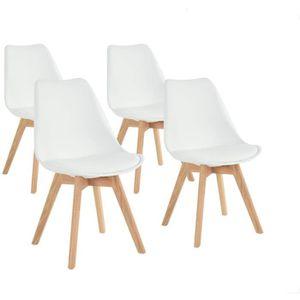 CAICAI Chaise simple r/étro moderne en bois Marron PU