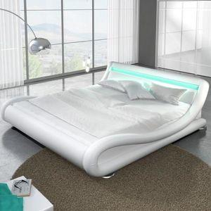 STRUCTURE DE LIT Lit design LED Julia - 160x200 - Blanc